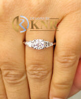 14k White Gold Round And Pear Forever One Moissanite Engagement Ring 1.50ctw