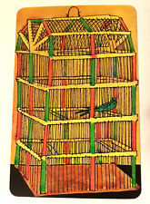 Vintage 1960s Faroy Postcard - Green Bird in a Bird Cage Yellow, Red, Green