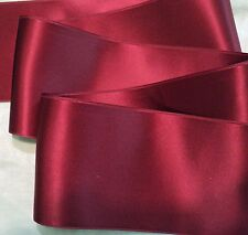 "4"" WIDE SWISS DOUBLE FACE SATIN RIBBON- CRANBERRY RED-  BY THE YARD"