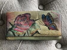 Anuschka Trifold Wallet Butterfly & Roses Hand Painted Leather Good Condition
