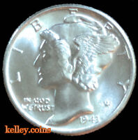 1943 Winged Liberty Head Mercury Dime BU