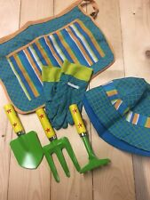 Children's Garden Tool Set. Gloves, Hat, Apron And Tools