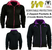 LADIES FLEECE HOODIE WOMENS REMOVABLE CE ARMOUR MOTORBIKE / MOTORCYCLE JACKET