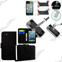 Etui Housse Portefeuille Cuir Rabat Apple iPhone 4/ 4S/ 4G + Film Verre Trempe