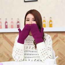 Lovely Women Winter Knit Wool Thicker Cashmere Warm Gloves Fingerless Mittens