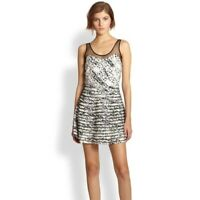 Parker Jax Black White Silk Mesh Striped Fit and Flare Dress XS Splatter Print