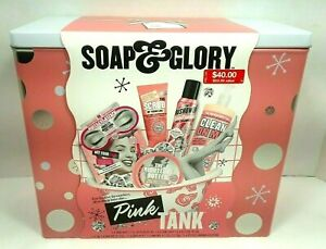 """SOAP & GLORY """"The Pink Tank"""" Gift Set - 6 Full-Sized Items In Decorative Tin NEW"""