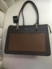 DKNY BRYANT Signature Logo TOP ZIP TOTE Handbag Brown R74A4009 $228 NEW