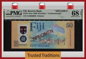 TT PK 121as 2020 FIJI 50 DOLLARS COMMEMORATIVE SPECIMEN PMG 68 EPQ NONE FINER!