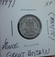 1941 Great Britain Six 6 Pence Silver Coin KM#852