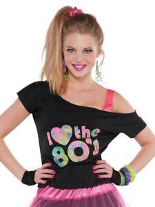 Womens I Love The 80's Retro T-Shirt Ladies Pop Fancy Dress Party Top UK 18-20