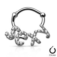 "CZ paved ""SEXY"" Design Gold IP Surgical Steel Clicker Nose Septum Ring 16G 3/8"""