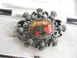COLOURFUL VINTAGE 50'S LUCITE & MULTI THISTLE BROOCH/SHAWL PIN