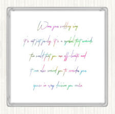 Wedding Ring Rainbow Quote Drinks Mat Coaster