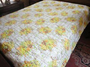 """Vintage 1970's Quilt Size 78"""" x 80"""" Yellow & Orange Floral Print"""