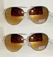 2 Pair Target Brass Metal Driver Sunglasses With Amber Mirrored Gradient Lens