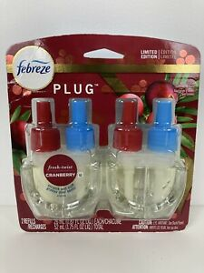 Febreze Limited Edition Fresh Twist Cranberry Plug Scented Oil 2 Refills Sealed
