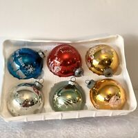 Vintage 6 Shiny Brite Glass Multi Color Christmas Ball Ornaments Flocked USA
