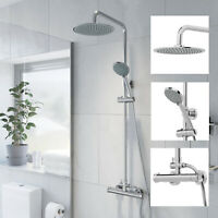 Bathroom Shower Mixer Thermostatic Set Twin Head Chrome Exposed Valve Round Set