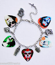 DAY OF THE DEAD GUITAR PICK SILVER CHARM BRACELET CALAVERAS SUGAR SKULL GOTHIC