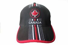 CANADA BLACK WITH MAPLE LEAF & RED WHITE STRIPES  EMBOSSED HAT CAP.. NEW