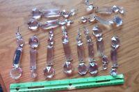 Chandelier Crystals rectangularbprisms Vintage french Gothic lamp part Lot of 12