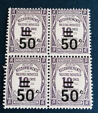 France Taxe N° 51 50/10 C Violet Neuf ** Bloc De Quatre TTB Côté 44€