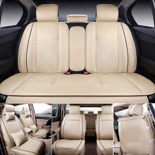 US Stock M Size for 5 Seats PU Leather Seat Cover Front+Rear+Free Pillows Beige