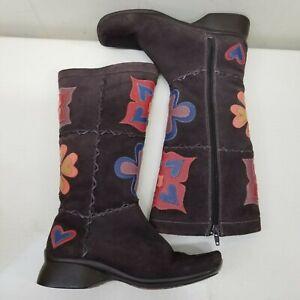 Clarks Indigo 7M Brown Boots Leather Mod Flowers Hearts Boho Hippie Retro Patch