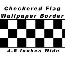 Checkered Flag Cars Nascar Wallpaper Border-4.5 Inch (Black Edge), New