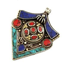 Medieval Shield Protection Pendant Silver Plated Turquoise Coral Lapis PD705