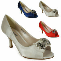 WOMENS BRIDAL LADIES WEDDING PROM SHOES MID HEEL EVENING SANDALS SIZE 3-8