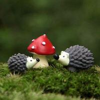 3Pcs Cute Fairy Garden Gnomes Moss Miniatures Mushroom Dot Red + Hedgehog Mini