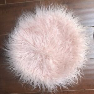 Magaschoni Fluffy Circle Pillow Case Light Baby Pink Throw Design Cover