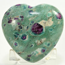 "2.75"" Ruby Fuchsite w/ Blue Kyanite Puffy Heart Natural Crystal Stone - India"