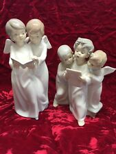 Lladro, Nao Angel Choir #0193 & #4542~ 8 1/4� & 7�Tall Great Grouping Caroling