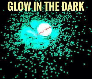 STAR Luminous Glow in the Dark Yellow Green Light Color Nail Art Glitter Xmas