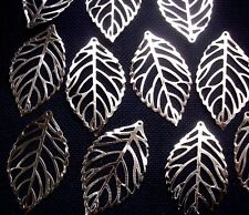 10 Large Veined Leaf Pendant Charms Silver Tone Metal 45mm