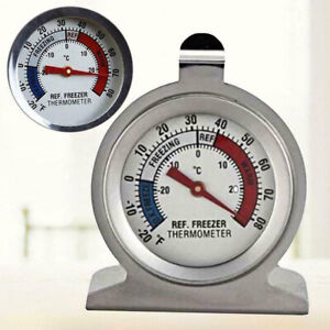Stainless Steel Fridge Freezer Thermometer Hanging Refrigerator Gauge Home Pro