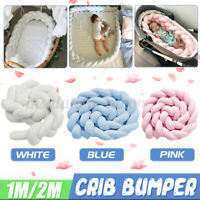 100CM/200CM Cot Bumper Braid Pillow Nursery Bed Crib Bedding Padded Protector