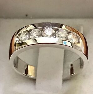 1.00 Ct White Gold Finish Men's Round Diamond Wedding Engagement- Band Ring