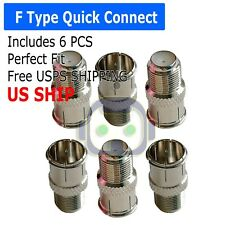 6 pack F-Type Quick Connect Push-On Coaxial Coax Cable Adapter for TV Antenna