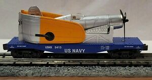 K-Line Trains K661-8017 U.S. Navy Flat Car #5413 With Scout 4 Fighter Plane(270)