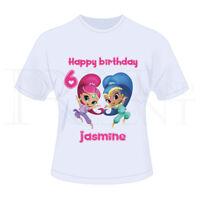 Personalised Childrens Girls Shimmer And Shine Birthday T-Shirt (White)