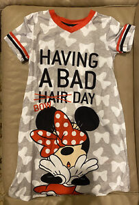 Disney Store Minnie Mouse HAVING BAD HAIR BOW DAY 9-10 Nightgown Girls Pajamas