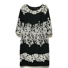 Adrianna Papell Cocktail Dress Black White Floral Stretch Crepe Sz 12