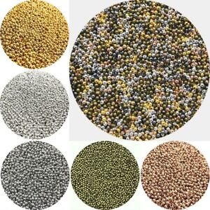 2/4/6mm Beads Round Spacer Metal Wholesale Smooth Silver Gold Jewelry Making
