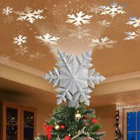 9 inch Christmas Tree Topper Lighted LED Rotating Magic Snowflake Projector USA