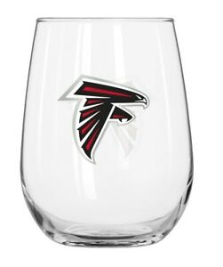 ATLANTA FALCONS 16 OZ CURVED BEVERAGE STEMLESS WINE GLASS FREE SHIPPING