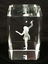 Tennis Girl 3-D Laser Etched Solid Crystal Cube,